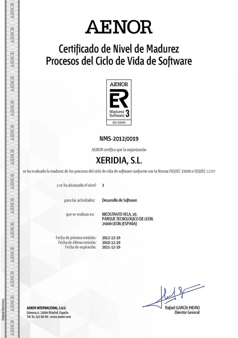 Xeridia renews its software development process certification